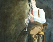 Benny Goodman, original watercolor painting - EgressStudio