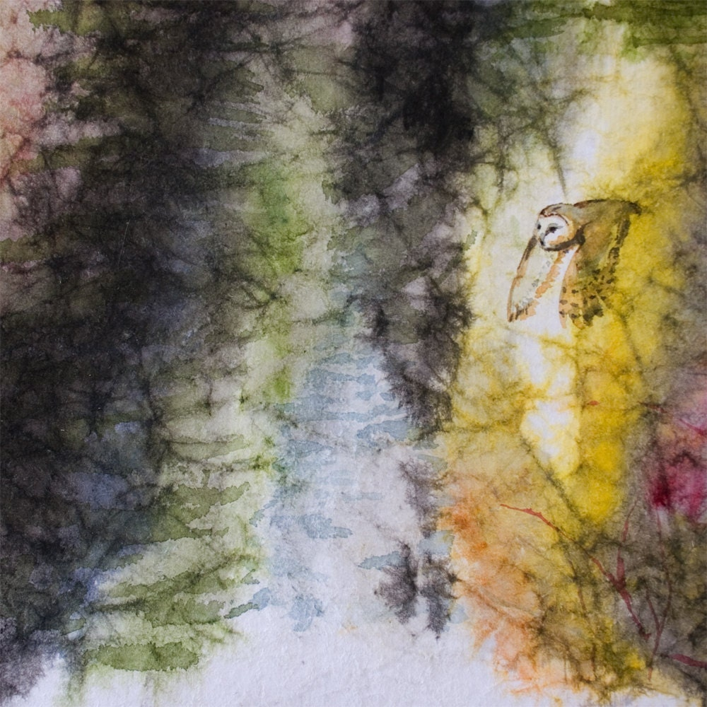 Crumpled Masa Paper Sumi And Watercolor Painting By