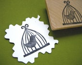 Bird Cage Hand Carved Rubber Stamp, Featured in Midwest Living