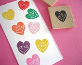 Conversation Hearts Rubber Stamp, Valentines Day Stamp, 2 small