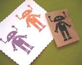 Robot Rubber Stamp Hand Carved