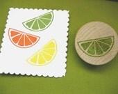 Citrus Slice, Lemon Lime Orange, Hand carved Rubber Stamp