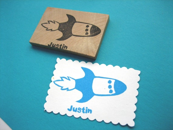 Rocket Rubber Stamp, Personalized Name