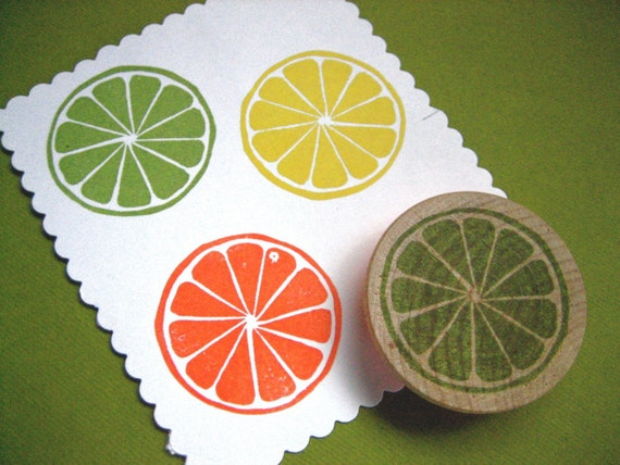 Citrus Slice Rubber Stamp Hand Carved Lemon Lime Orange