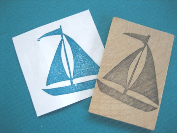 Sailboat Hand Carved Rubber Stamp