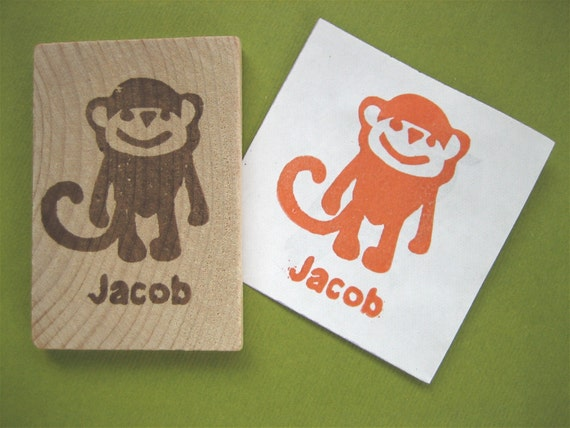 Monkey Rubber Stamp, Personalized Name