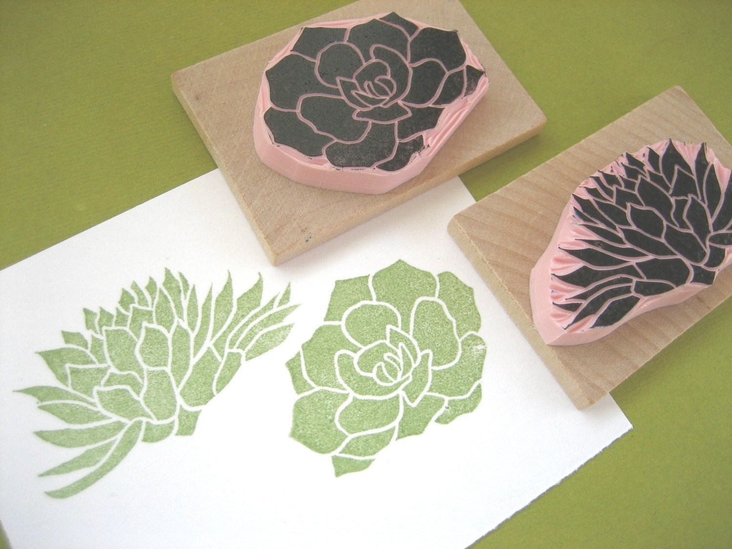 Succulent rubber stamps hand carved by