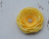 Interchangable Yellow Flower in Buttery Yellow with Extremely Detailed Pearl and Rhinestone Center