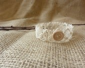 Shabby Chic Beige Crochet Lace Crown With Wooden Button Accent Photography Prop Teeny and Sweet