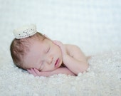 Off White Crochet Lace Newborn Crown Photography Prop Teeny and Sweet