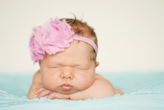 Shabby Chic Antique Pink Frayed Flowers on Matching Stretch Headband Infants, Babies or Adults