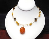 Amber and Chocolate Wood Necklace