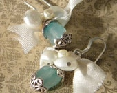 Vintage Ribbon- White Freshwater Pearls, and faceted Amozonite Earrings-READY TO SHIP