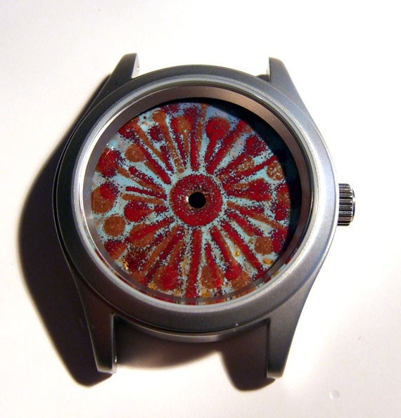 One-of-Kind, Handmade, Torch Fired Vitreous Enamel, Swiss Wristwatch, Copper Dial Watch