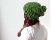 Slouchy Hat hand knitted with Pom Pom in Green Fall Winter Fashion