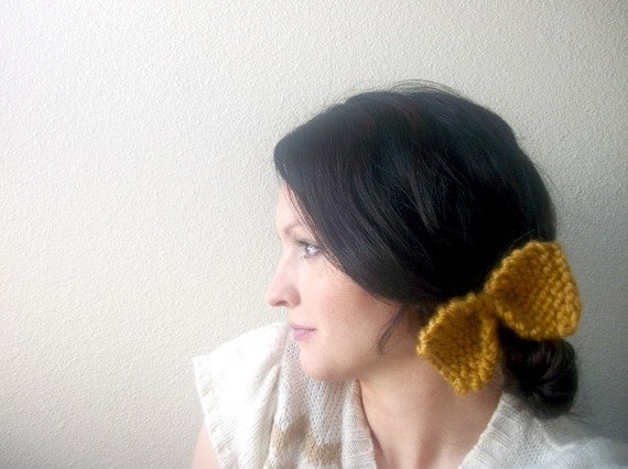 Knit Bow in Mustard Fall Fashion Hair Accessories