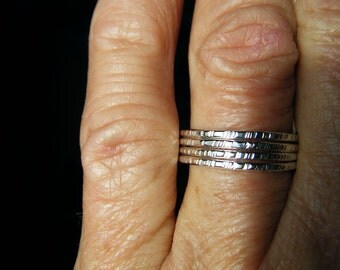 Textured Stacker set of 4 Sterling Rings