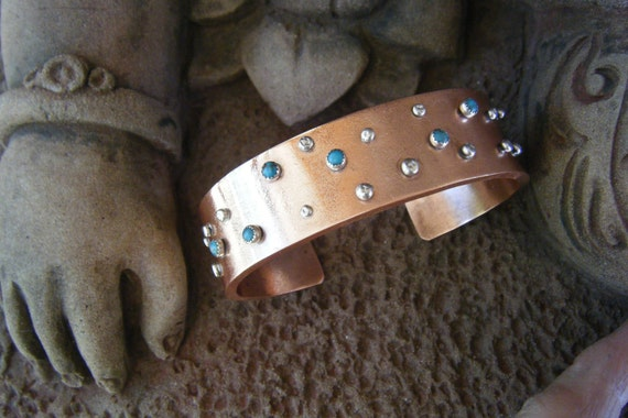Heavy Copper, Turquoise and Silver Cuff