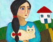 Girl with Light Golden Cat- Original Painting