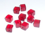 10 Red Glass Cube Beads, Destash Supplies by belladonnabeads on Etsy