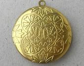Round Gold Locket, Destash Supplies by belladonnabeads on Etsy