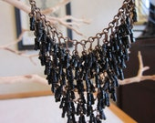 Vintage Beaded Statement Necklace- Black and Bronze