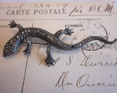 Little Lizzie- Vintage Sterling and Marcasite Lizard Brooch