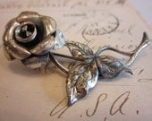 Vintage Beau Sterling Silver Rose Brooch