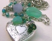 BUTTERFLY GARDEN HEART LOCKET 16 inches long FREE SHIPPING