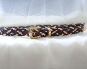 vintage 80's braided multi colored rope belt
