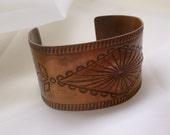 vintage route 66 southwest design solid copper wide cuff. old bell logo
