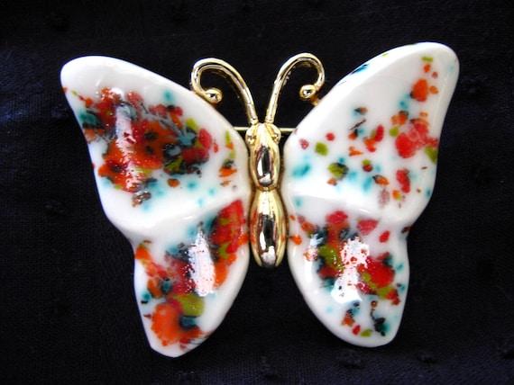 vintage. PORCELAIN Butterfly brooch