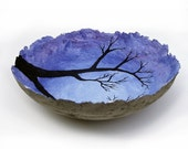 cool blue day, decorative landscape handmade paper bowl, large size