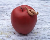 bad apple - assemblage sculpture by Sarah Knight, rotten red earthworms worms grotesque Halloween mixed media art