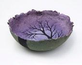 periwinkle dusk, decorative landscape handmade paper bowl by Sarah Knight, medium size