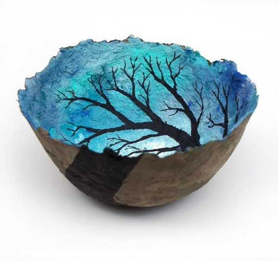 Cerulean stratosphere decorative landscape handmade by for Making paper pulp sculpture