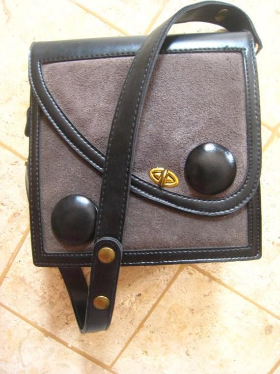 Black and Gray Suede 1970s Handbag or Clutch