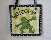 ceramic Frog Welcome Tile