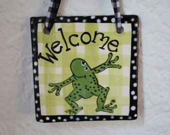 ceramic Frog Welcome Tile