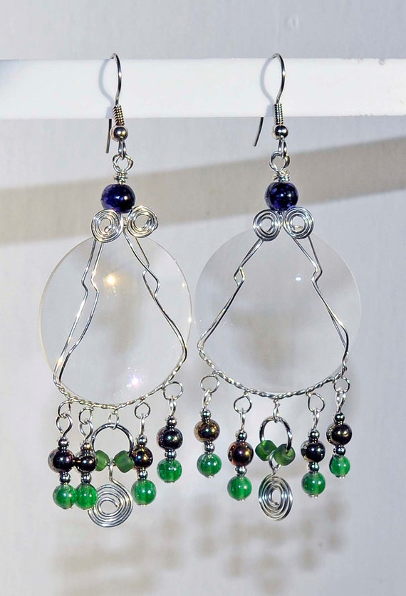 Camera lens earrings larger glass recycled green multicolor beads wire wrapped artist made jewelry