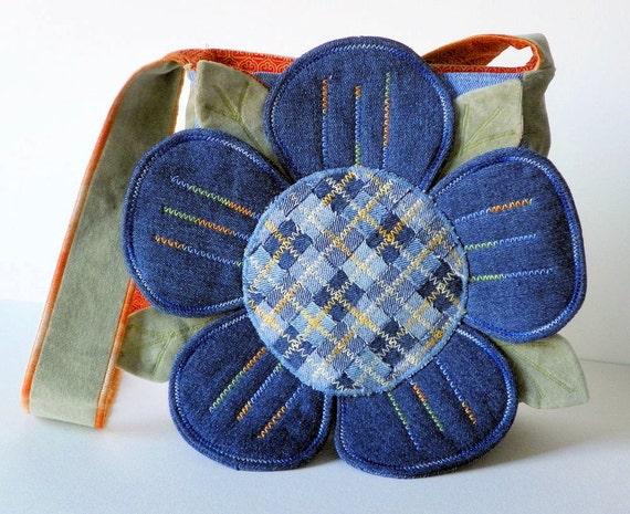 Denim Petals Upcycled Repurposed Fabric Purse
