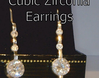 Cubic Zirconia Handmade Sterling Silver Six Gem Stick Wire Hook Ladies Earrings