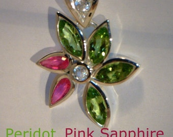 Green Peridot, Pink Sapphire and White Topaz Handmade Sterling Ladies Pendant