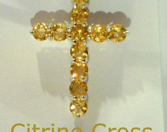 Yellow Citrine Handmade Sterling Silver Ladies or Gents Christian Cross Pendant