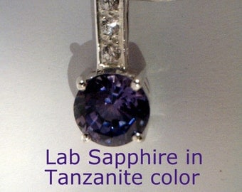 Tanzanite color of Lab Sapphire and White Sapphires in Sterling Ladies Pendant