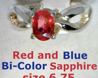 Red and Blue Bi Color Sapphire Handmade Sterling Silver Ladies Ring size 6.75