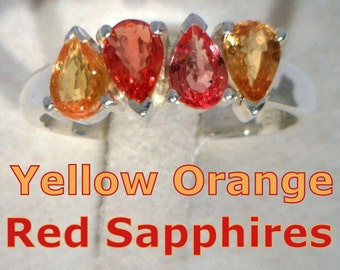 Red and Yellow Pear Sapphires Handmade Sterling 925 Silver Ladies Ring size 8.75