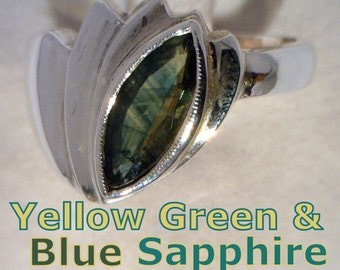Green Blue Sapphire Handmade Sterling Silver Unisex Gents Ladies Ring size 8.75