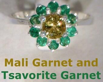 Mali Garnet Tsavorite Garnet Halo Handmade Sterling Silver Ladies Ring size 5.75