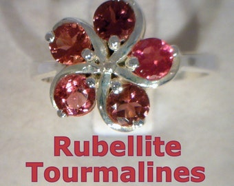 Rubellite Red Purple Tourmaline Handmade Sterling Silver Ladies Ring size 6.75